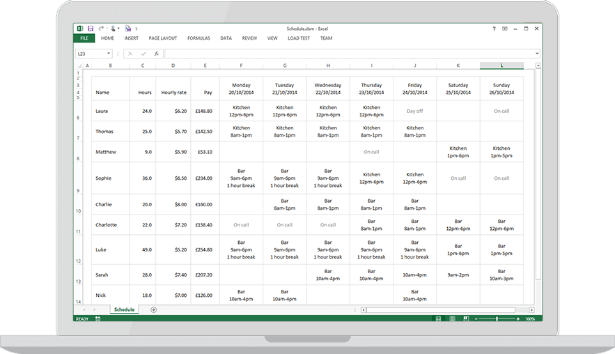 Download a free staff rota template for Excel - Findmyshift